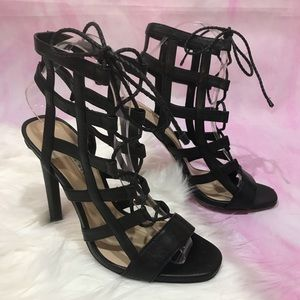 Zara strapping cage heeled sandals lace up